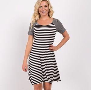 Black Thin Striped Sleeve Dress